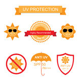 Set of UV Sun Protection and anti UV icons Stock Image