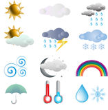 set väder för symbol Arkivfoton