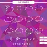 set väder för symbol Vit tunn linje beståndsdelar på vektor illustrationer