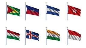 set värld för 10 flagga royaltyfri illustrationer