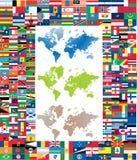 set värld för färdig flagga Arkivfoto