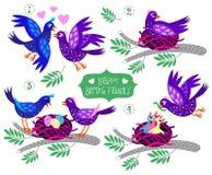 Set Vögel Glückliche Familie Stockfotos