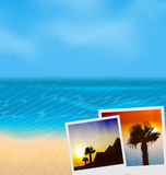 Set vacation beautiful beach photographies Royalty Free Stock Images