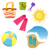 Set of vacation icons. Vector icon set of cute vacation themed icons Royalty Free Stock Photo