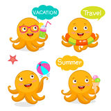 Set Vacation Icons And Balloons. Summer Travel Illustration Characters Mascot. Summer With Cute Octopus. Vector Tentacle. Stock Image