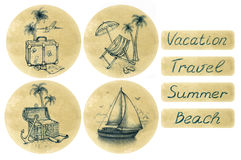 Set of vacation illustration Royalty Free Stock Photography