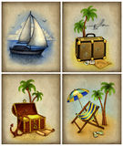 Set of vacation illustrations. On the old paper Stock Photo