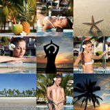 Set of vacation photos. Set from vacation photos with woman and tropical place Stock Image