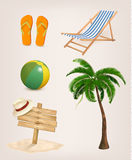 Set of vacation related icons. Royalty Free Stock Photo