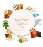 Set of vacation related icons. Vector Stock Images
