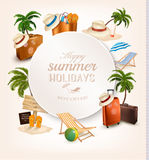 Set of vacation related icons. Stock Photos