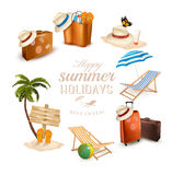 Set of vacation related icons. Stock Image