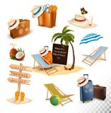 Set of vacation related icons. Vector. Stock Photo