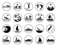Set of vacation at the sea icons Royalty Free Stock Photo