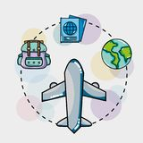 Set vacation travel and adventure destination. Vector illustration Stock Photo