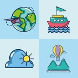 Set vacation travel and adventure destination. Vector illustration Royalty Free Stock Images