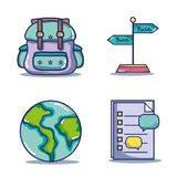 Set vacation travel and adventure destination. Vector illustration Stock Images