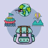 Set vacation travel and adventure destination. Vector illustration Stock Photography