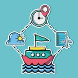 Set vacation travel and adventure destination. Vector illustration Royalty Free Stock Image