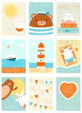Set of vacation travel banners with cute bear and rabbit Stock Image