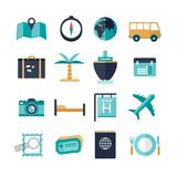 Set of vacation travel icons. Illustrated set of holiday or vacation travel icons isolated on a white background Stock Photos