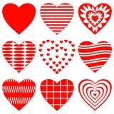 set valentin för hjärta Stock Illustrationer