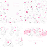 Set Valentine backgrounds. Set of cute Valentine backgrounds and seamless patterns. Romantic invitations with hearts and rabbits Stock Image