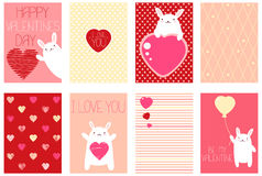 Set of Valentine banners with cute rabbits Stock Images