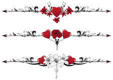 Set of Valentine borders. Vector set of Valentine borders with hearts, scorpion and flowers royalty free illustration