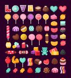 Set of Valentine candies. Set of colorful Valentine sweets for loving couples. Vector candies decorated with valentine's day elements and ornaments made in Stock Image