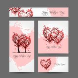 Set of valentine cards design with sakura trees Stock Photo