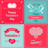 Set of Valentine cards. Greetings with Valentine`s day Stock Photos
