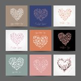 Set of valentine cards with hearts for your design Royalty Free Stock Images