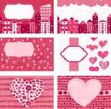 Set of valentine cards with pink doodle hearts Stock Photography