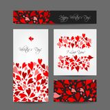 Set of valentine cards for your design Stock Photos