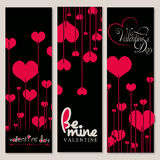 Set of 3 Valentine Day Background in Black and Red color. Set of 3 Valentine Day backgrounds with flowers in heart shape in Black and Red color Stock Photos