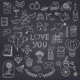 Set of Valentine day doodle elements on the black background. Stock Photography