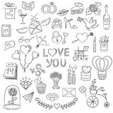 Set of Valentine day doodle elements on the white background. vector illustration