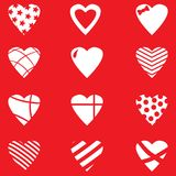 Set of Valentine day hearts. Doodle red hearts for Valentine day. Design elements Stock Photo