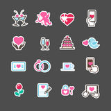 Set of valentine day for love and wedding card decoration icon  Royalty Free Stock Image