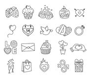 Set valentine day objects, Love icon Stock Photography