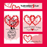 Set of 4 Valentine Day Poster. Set of 4 different size Valentine Day banner ads of different sizes with bunch of hearts Royalty Free Stock Photo
