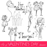 Set of valentine day's elements Royalty Free Stock Photo