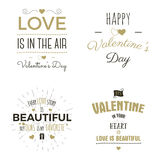 Set of Valentine day typography photo overlays, inspirational text and sun bursts.   labels. Custom quotes isolated on Stock Photography