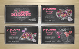 Set of valentine discount cards Stock Image