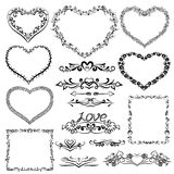 Set of Valentine frames and borders. Decorative design elements with ornamental frames Royalty Free Stock Photos