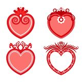 Set of valentine, frames in the form of red hearts. Set of decorative hearts for Valentine `s Day, wedding, as an invitation, congratulation Royalty Free Stock Photo