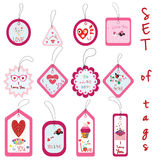 Set of Valentine Gift Tags with cupcake, love, flower, heart, fl Royalty Free Stock Images