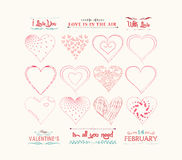 Set of valentine hearts for design Stock Images