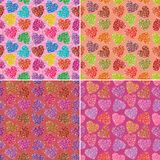 Set of valentine hearts seamless patterns Stock Photography